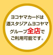 ヨコヤマカードは酒スタジアムヨコヤマグループ全店でご利用可能です。