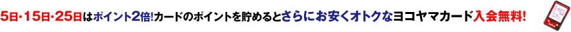 5日・15日・25日はポイント2倍!カードのポイントを貯めるとさらにお安くオトクなヨコヤマカード入会無料!